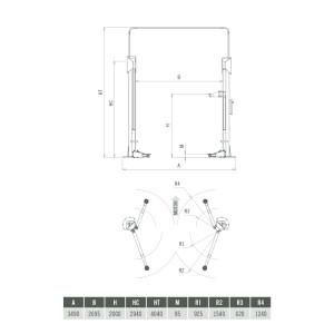 Elevador 2 Columnas Sin Base Asimétrico 3,5 T Sincronización Electrónica - Plano