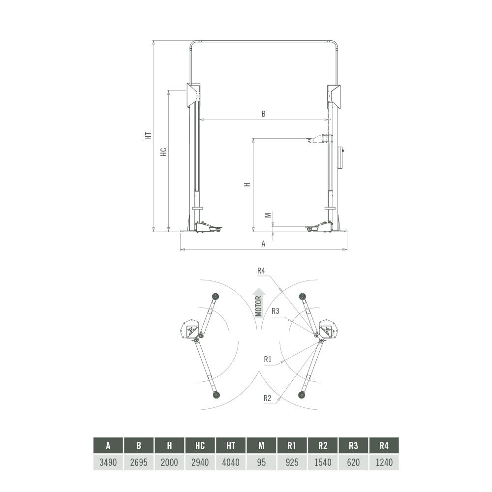 Elevador 2 Columnas Sin Base Asimétrico 3,5 T Sincronización Electrónica – Plano